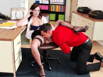 Boss Marley Brinx gets her smooth pussy licked in the office