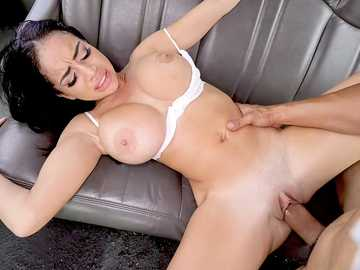 Hot brunette Victoria June gets her shaved pussy banged by the thick member in the bus