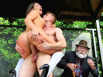 Wild school girl Bella Danger is fucked on the bus stop while old man watches