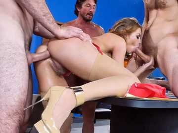 Business-like woman Britney Amber gets her holes used by three males during interview
