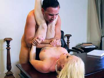 Keiran Lee does his rival Nikki Delano on the office desk missionary style